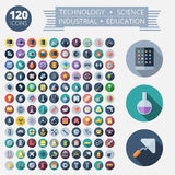 Flat Design Icons For Technology and Science Stock Images