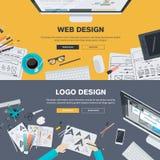 Flat design illustration concepts for web design development, logo design Royalty Free Stock Image