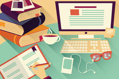Flat design objects, work desk, office desk, books, computer Royalty Free Stock Photography