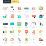 Flat design online shopping and e-commerce icons for graphic and web designers Royalty Free Stock Photo