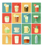 Flat icons drink set Stock Images