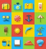 Flat icons of holiday journey, summer pictogram, sea leisure Stock Image