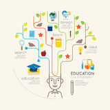 Flat line Infographic Education People and Pencil Tree Outline Stock Image