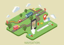 Flat map mobile phone GPS navigation 3d isometric concept Royalty Free Stock Photos