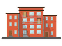 Flat residential brick house city scenery buildings Royalty Free Stock Photography