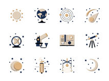Flat style astronomy icons Stock Images