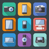 Flat Style Electronics Gadget Vector Icon Set Stock Image