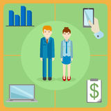 Flat style icons of a white collar office workers Royalty Free Stock Image
