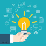 Flat style modern idea innovation hand holding lamp infographic Royalty Free Stock Photography