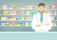Flat style young pharmacist at pharmacy opposite shelves of medicines Stock Images
