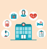 Flat trendy icons of hospital and another medical objects, moder Stock Photography