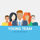 Flat vector human relations HR concept: young team staff Stock Photos