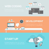 Flat web design concepts. Web coding, development and startup. Royalty Free Stock Photography