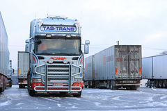 Fleet of Scania Trailer Trucks on Wintry Icy Yard Stock Photos