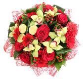 Floral compositions of red roses, red gerberas and orchids. Floristic composition, design a bouquet, floral arrangement. Isolated Royalty Free Stock Image