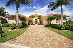 Florida luxury home with paver block driveway Stock Images