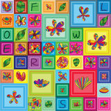 Flower insect frame square frame seamless pattern Stock Image