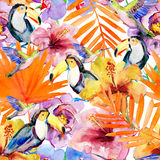 Flowers and birds  on a white background. painting Royalty Free Stock Photo
