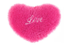 Fluffy heart-shaped pillow Stock Image