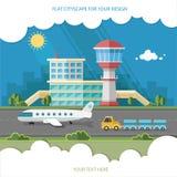 Flughafenlandschaft Reise-Lebensstil-Konzept der Planung eines Sommers Stockfotos