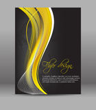 Flyer or cover design, dark background with yellow pattern Royalty Free Stock Image