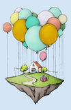 Flying island with home and garden, decorated for a birthday Royalty Free Stock Image