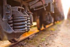 Focus on the wheels freight train Stock Photos