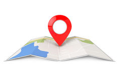 Folded Abstract Navigation Map with Target Pin Stock Photography