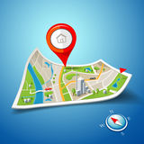 Folded maps navigation with red color point markers Royalty Free Stock Image