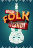 Folk festival poster with acoustic guitar shape. Vector illustration. Stock Photo