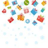 Fond de Noël avec des flocons de neige et des boîte-cadeau Photographie stock
