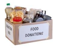 Food donations box Stock Photo