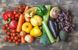 Food photos with fruits and vegetables in a rainbow layout Royalty Free Stock Images