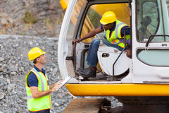 Foreman excavator operator Stock Photos