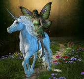 Forest Fairy and Unicorn Royalty Free Stock Photos