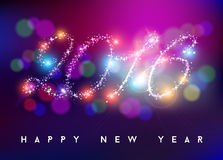 Forme 2016 d'étoile de couleur de tache floue de bokeh de bonne année Images libres de droits