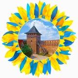 Fortifique em Lutsk moldou com as pétalas nas cores da bandeira ucraniana Imagens de Stock Royalty Free