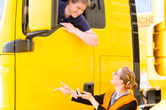 Forwarder or truck driver in drivers cap Stock Photos