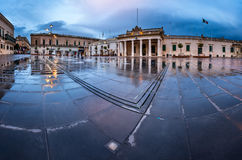 Fountain and Saint George Square on the Rainy Morning Royalty Free Stock Images