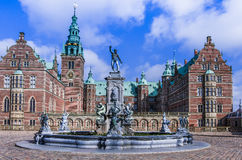 Fountain with statues in front of Frederiksborg Palace, Denmark Stock Image