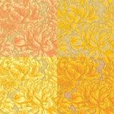 Four seamless pattern with chrysanthemum Stock Image