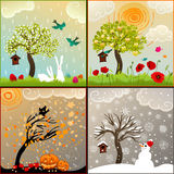 Four seasons themed illustrations set with apple tree, birdhouse and surroundings Royalty Free Stock Photo