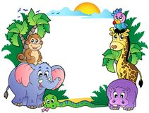 Frame met leuke Afrikaanse dieren Royalty-vrije Stock Afbeeldingen