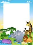 Frame met vier Afrikaanse dieren Stock Foto's