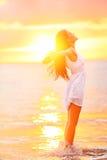 Free woman enjoying freedom feeling happy at beach Royalty Free Stock Image