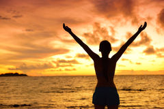 Freedom woman silhouette living a happy free life Royalty Free Stock Photography