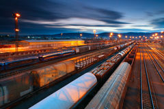 Freight Station with trains Stock Photos