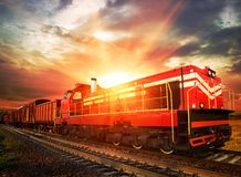 Freight train on railroad Royalty Free Stock Images