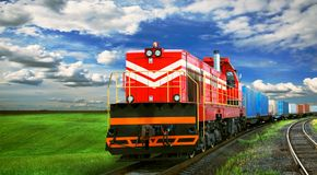 Freight train on railroad Royalty Free Stock Image