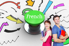 French against digitally generated green push button Royalty Free Stock Images